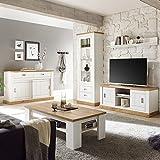 Lomadox Wohnzimmer-Set in Pinie weiß mit Wotan Eiche im Landhausstil, mit Sideboard und Couchtisch