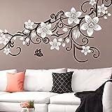 Grandora W5391 Wandtattoo 2-farbige Blumenranke mit Schmetterling Wohnzimmer Schlafzimmer türkis (BxH) 151 x 58