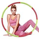 Jeteven Fitnessreifen, Fitnesskreis für Erwachsene, 8 Abnehmbarer Design Fitness Reifen mit Stabiler Verzinkter Stahl mit Premium Schaumstoff, Taille/Hüfte für Abnehmen Übung Gymnastik Massage (92cm)