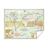 Poster Die Welt dann map - Altes meteorologische Weltkarte | Weltkarte 160x120 cm - Fotodruck auf Poster - Wanddekoration Wohnzimmer / Schlafzimmer