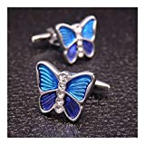 YUNGYE Schmetterlings-Manschettenknöpfe for Herren Damen Cufflink Marken-Hemd Manschettenknöpfe Wedding Gift Accessoires Kragenknöpfe