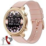 Smartwatch Damen,Smart Watch kann Anrufe, 1,28zoll Bluetooth Smartwatch Samsung Huawei iPhone mit Fitness Tracker Uhr Wasserdicht Schrittzähler Schlafmonitor SMS Rund (Rosa)