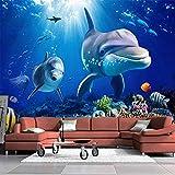 HGFHGD Selbstklebende Fototapete 3D Dolphin Underwater World Hintergrund Moderne Tapete Wohnkultur Wohnzimmer Sofa TV Wandaufkleber Wandkunst