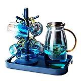 Karaffen Wasserkaraffen-Set Mit Becher Borosilikat Set Mit 6 Gläsern Wohnzimmerkrug Und Wasserglas-Set Hochtemperaturbeständiger Saftbecher (Color : Blue, Size : C)