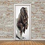 3D Türaufkleber Elefant auf der Toilette Türtapete Wandbild Selbstklebend PVC Wasserdicht Abnehmbar Türfolie TürPoster Fototapete Wohnzimmer Schlafzimmer Haus Dekoration 77x200cm