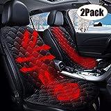 SEAMETAL Sitzheizung Auto Heizkissen 12V,Auto Beheizte Sitzauflage Universal Regulierbare Vordersitz Heizauflage 2PACK (Black)