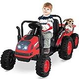 Uenjoy Kinderfahrzeug Traktor mit abnehmbarem Anhänger Trettraktor Zwei Fahrstile Outdoor mit Musik, Bluetooth, FM, Lampe, USB-Buchse usw, Rot