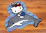 Knüpfteppich für Erwachsene und Kinder, Knüpfhaken-Teppich-Set – Delphin, 52 x 45