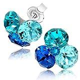 Chic Bijoux Ohrstecker für Frauen - Handgefertigt mit 4 Swarovski Kristallen und 925 Sterling Silber für empfindliche Ohren - Geschenk für Mama, Hypoallergener Schmuck, Blau
