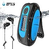 IPX8 Wasserdicht MP3 Player, 8GB HiFi MP3 Musik Player zum Schwimmen und Laufen, mit wasserdicht Kopfhörer, Audiokabel und 3 Paar Ohrstöpsel (L/M/S), unterstützt FM, Shuffle Funktion, B