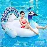 AZITEKE Pfau-Schwimmtiere Aufblasbarer Pool Schwimmer großes riesige Schwimminsel Luftmatratze für Wasserspielzeug Wasser Strand Party mit Haltegriffen Erwachsene und Kinder (150*105*100cm)