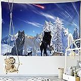 KHKJ Tapisserie Psychedeli Schnee Schwarz Weiß Wolf Tapisserie Wandbehang Hintergrund Hippie Wandteppiche Boho Dekor Tischdecke A3 95x73cm