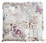 Möbel Jack Hockerauflage Sitzpolster Gartenhockerauflage | 50 x 50 cm | Natur | Schmetterlinge | Baumwolle | Polyester