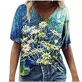 Damen Oberteile Sommer Kurzarm Blusen T-Shirt V-Ausschnitte Loose Oversize Shirt Retro Blumen Drucken Frauen Bluse Tops