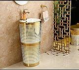 DWSS® Waschbecken Gold Stilvolles rundes Waschbecken aus Keramik Waschbecken aus Keramik mit Standwaschbecken