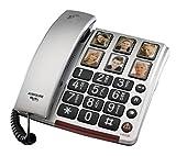Audioline BigTel 40 Plus, Schnurgebundenes Großtastentelefon mit Bildwahltasten zum besseren Hören und S
