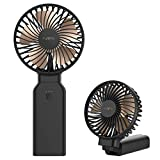 Handventilator,Funme 2021 Neuer Tragbarer Ventilator als Power bank mit 10000mAh 53 Stunde Faltbarer USB Lüfter Exquisit Aufladbarer Batterie für Mädchen Reisen und Zuhause Schwarz