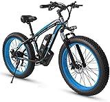 Schnelle Geschwindigkeit Adult Fat Tire Elektro Mountainbike, 26 Zoll-Räder, Leichtes Aluminium Rahmen, Vorder Fahrwerk, Bremsen Dual Disc, Elektro-Trekkingrad for Touring ( Color : Blue )