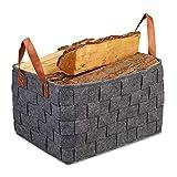 Relaxdays Aufbewahrungskorb Filz, faltbare Aufbewahrungsbox, Filzkorb mit Henkeln, HxBxT: 26 x 40 x 30 cm, dunkelg