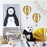 2er Set Heißluftballons Wandtattoo Wandsticker Aufkleber für Kinderzimmer Babyzimmer Aquarell Ballon Y032 (Senf)