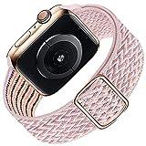VIKATech Sports Band Kompatibel mit Apple Watch Armband 40mm 38mm, Geflochtenes Elastisches Nylon Sport Ersatzband für iWatch Series 6/SE/5/4/3/2/1, Pinksand