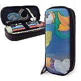 Federmäppchen Meerjungfrau Katze Zeichnung farbige PU Leder Tasche Aufbewahrungstaschen tragbare Bleistift Tasche Reißverschluss Geldbörsen
