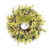 Hängender Kranz Gelbe künstliche Blume Freundliche Frühlings-Kranz-Fälschungs-Blumen-Rebe-Ring Garland for Wohnzimmertür hängende Wand hängend Heimtextilien