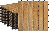 XZhstes 22 Stück Akazien-Holz Fliesen Wasserfilterbar Terrassen- & Balkonfliesen Zusammenbaubar Holzfliesen Garten Klickfliese Gesamt ca. 1m² (Color : A, Size : 30x30cm 22 Stück)