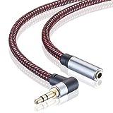 Audio-Verlängerungskabel, 2 m, rechtwinkliger 3,5 mm Stecker auf Buchse, Audio-Stereo-Kabel mit versilbertem Kupfer, kompatibel mit iPhones, Tablets, Sony Beats, PS4 Headset (2 m)
