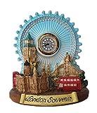 thomas benacci 3D London Collage mit analoger Uhr – Big Ben / Tower Bridge / Westminster Abbey / St. Paul's Cathedral / Doppeldecker Bus / Rote Telefonzelle / Auge / Britisches Souvenir
