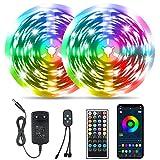 Tomshine LED Strip 20m Bluetooth, RGB LED Streifen APP Steuerbar, Dimmbar Lichterkette mit 44 Tasten Fernbedienung Musik Sync, 5050 Farbwechsel Zeitsteuerungs-Modus LED Band für Zuhause, Schrankdek