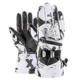 Winter Warme Handschuhe Skihandschuhe Touchscreen Fleece Snowboard Handschuhe Ultraleicht Wasserdicht Motorrad Thermo M Schwarz-Weiß