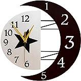 C-Cakus Wanduhr Modern Wanduhren Sonne und Mond Wandtattoo Leise Küchenwanduhr Dekoration Uhr für Kinderzimmer Bar (B 33cm)