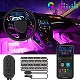 Govee Auto LED Innenbeleuchtung, RGB Auto Innenraumbeleuchtung mit APP, Wasserdichte Mehrfarbiger Musik Auto Fußraumbeleuchtung Strip Kit mit Zigarettenanzünder und Mikrofon für iPhone Android, 12V