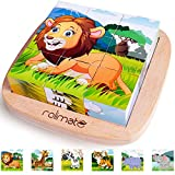 Rolimate Bilderwürfel Holz, Holzpuzzle 3D Würfelpuzzle Puzzlespiele 6 in 1 Tier-Motive mit 9 Würfel Holzspielzeug für Kinder ab 2 3 4 Jahren, Montessori Vorschule Lernspielzeug, 16 x 16cm, bunt