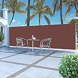 VIENDADPOW Garten Balkon Ausziehbare Seitenmarkise 160 x 500 cm Braun