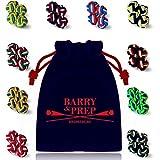 10 Paare runde Seidenknoten Manschettenknöpfe im Set zu Hemd oder Bluse für Herren & Damen | zweifarbig & dreifarbig in rot, blau, grün, gelb, orange