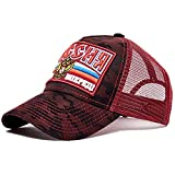 Herren Kappe Hut Unisex Cap Casual Camouflage Mesh Baseball Cap Stickerei Hüte Frauen Männer Hat-Wine_Red_54Cm-62Cm