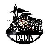1-teiliges Paris Skyline Wanduhr Handgefertigt Frankreich Stadtbild Vinyl Schallplatte Wanduhr LP Vintage Frankreich Reisegeschenk