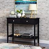 æ— Holz-Konsolentisch, Sideboard, Sofatisch mit 2 Schubladen und unterer Ablage, für Flur, Wohnzimmer, Schlafzimmer, Gästezimmer (schwarz)