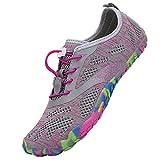 SAGUARO Aquaschuhe Damen Strandschuhe Barfuß-Traillaufschuhe Schuh mit Zehen Bequeme Laufschuhe Fitness Barefoot Schuhe Outdoor Schwimmschuhe Barfußschuhe für Frauen Gymnastik, Pink 37