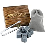 GOURMEO Whisky Steine Set – 9 Stück – Eiswürfel wiederverwendbar aus Basalt – Whiskey Zubehör Stones mit Edelstahl Zange, Samtbeutel und einer exquisiten Holzbox