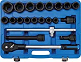 BGS 5258 | Kraft-Steckschlüssel-Satz | 21-tlg. | 20 mm (3/4') | inkl. Kunststoff-Koffer | für LKW, NFZ, Landw