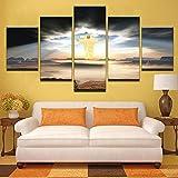Bilder Dekorative malerei leinwand malerei 5 stück Jesus kommt Religion Leinwand Wandbild, wandbilder Wohnzimmer,5 Teilig XXL Wanddekoration Desig
