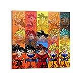 Trelemek Kunstdruck auf Leinwand, Motiv: Son Goku Super Saiyan Anime, 60 x 60 cm, personalisierbar