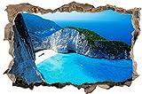 DesFoli Bucht Meer Griechenland Wandloch 3D-Optik Wandtattoo 70 x 105 cm Wandbild Sticker Aufkleber D046