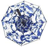 Langer Regenschirm für Herren und Damen, mit UV-Schutz, kühlender Schirm (Himmel und Wolken)