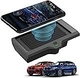 QXIAO Auto Wireless Charger für BMW X3 2018 2019 2020 BMW X4 2019 2020 Mittelkonsole Zubehör Panel Accessories, 10W Qi-Schnellladefunktion mit 3 Spulen, rutschfeste Telefonunterlage