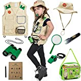 Born Toys Garten-Safari Weste und Kostüm mit Entdecker - Set für Outdoor, Natur, Park Ranger, Paläontologie, Zoowärter, Halloween, Camping, Wandern; tolle Wissenschaftler-Verkleidung für Rollenspiele