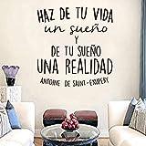 KDSMFA Aufkleber spanische Zitate machen das Leben zu einem Traum, Vinyl-Schnitzerei, entfernbar, Wandaufkleber, Wohnzimmer, Künstler, Heimdekoration, Malerei, 56 x 59 cm